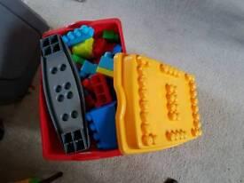 Mega blocks in box on wheels