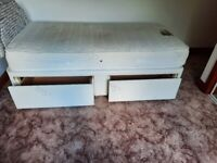 Single divan base with 2 drawers and mattress