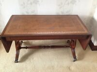 Mahogany Drop-Leaf Coffee Table with Leather Inset Top
