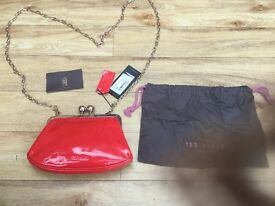 TED BAKER Stunning Red All Leather Bobble, across body Purse/Bag NWT