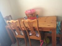 Solid oak table 4 chairs