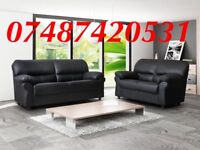 LARGE BLACK CANDY 3+2 LEATHER SOFA £349