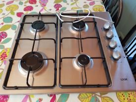 LOGIK LGHOBX12 Gas Hob Stainless Steel Automatic Ignition Side Control 4 Burners very good condition