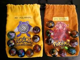 Vintage pokemon marbles #61 POLIWHIRL AND #76 GOLEM GOOD CONDITION