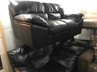As new black leather 2 11 sofa set