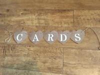 Hessian wedding cards bunting