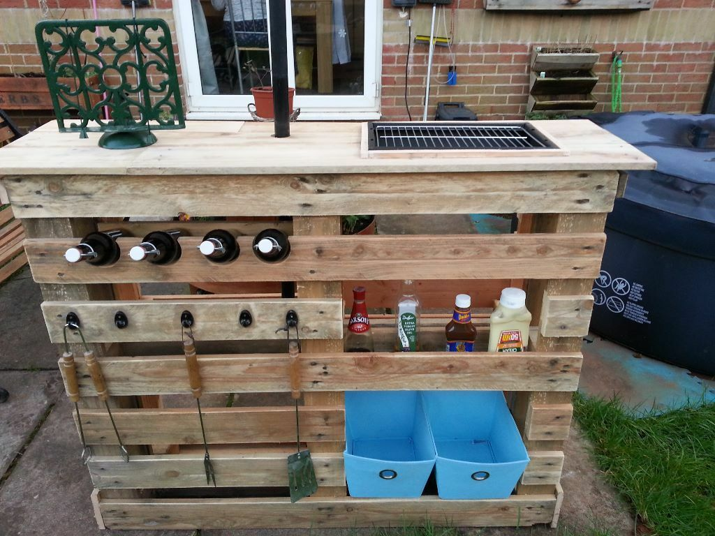 Upcycled Kitchen Cabinets Bespoke Bbq Bar With Built In Grill In Paignton Devon