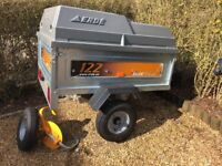 Erde 122 Trailer with hard ABS cover, spare wheel and wheel clamp, as new.