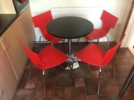 Kitchen / dining table and 4 chairs chrome legs retro look