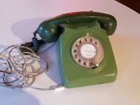 VINTAGE 1970S TWO TONE GREEN GPO ROTARY DIAL GPO 746F TELEPHONE FAB RETRO HOME DECOR DISPLAY USE GWO