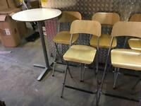 Folding Bar Stools and Bar Tables (7 Stools and 2 Tables)