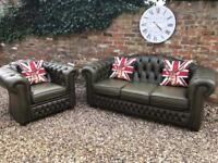 3+1 green Chesterfield sofas. Can deliver..