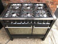 Smeg Black profesional Range gas cooker 100cm