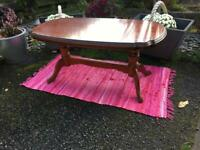 Vintage John E.Coyle Oval Cherry Wood Double Pedestal Table