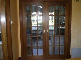 Hardwood double internal doors 15 pane bevel glass for sale
