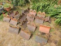 Lot of Antique Victorian Roof Ridge Tiles Reclaimed Terracotta Garden Decorative Edging