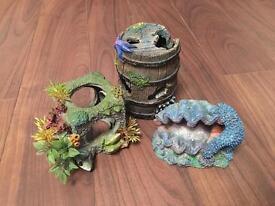 Coral themed aquarium decorations
