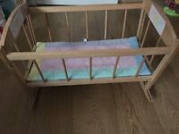 Dolls wooden rocking cradle
