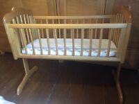 Mothercare Crib Cot rocking pine