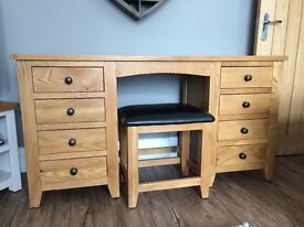 8 Drawer Oak Dressing Table and Stool