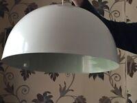 White metal dome shade