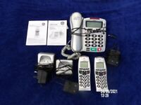 BINATONE LARGE BUTTON PHONE WITH 2 CORDLESS, NOT TESTED SO SOLD AS DESCRIBED