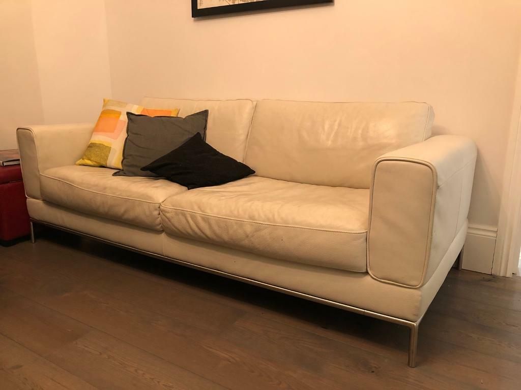 White ikea leather sofa