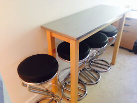 Stainless Steel Long Table with Four Stools