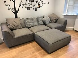 4-5seater brown grey large sofa with footstool