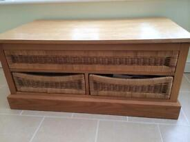 Coffee Table and Wicker Draws