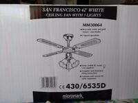 San Francisco 42inch white ceiling fan w/3 lights. Micromark.