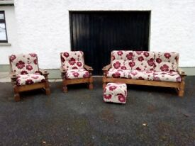 Heavy Oak 3 seat sofa and 2 chairs plus footstool