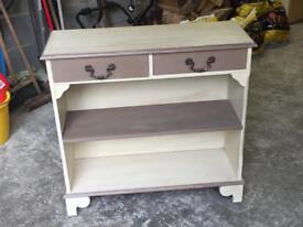Painted wood shelf unit