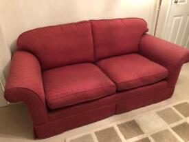 2 x Laura Ashley Winchester Sofas in Raspberry Red
