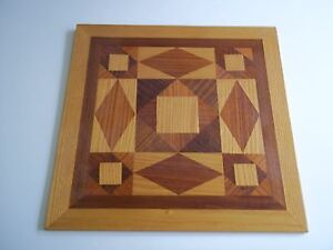 Unique Marquetry(Wood Veneer Inlay) Picture of Geometric Shapes.
