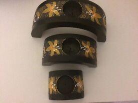 Decorative oriental candle holder set