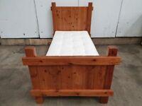 Rustic Pine Single 3ft Bed Frame John Lewis Mattress Used Bedroom Furniture