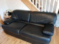 Reids real black leather 2x 3 seater solid sofas