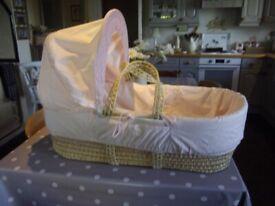 Kinder Valley Moses Basket in Pink. Adjustable Hood. Mattress not included