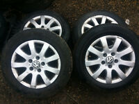 vw golf mk5 alloy wheel set x4 with tyres call parts thanks