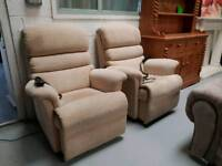 A pair of duel motor mobility rise and tilt electric recliner chairs can deliver 07808222995