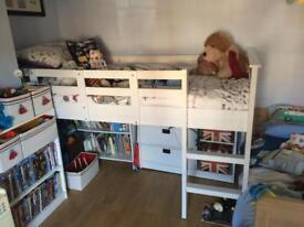 White cabin bed with drawers