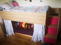 Excellent girls cabin bed and memory foam mattress. Tonnes of storage space