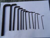 Set of 12 long Allen keys.