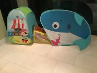 A pirate and shark pop up kids play tent