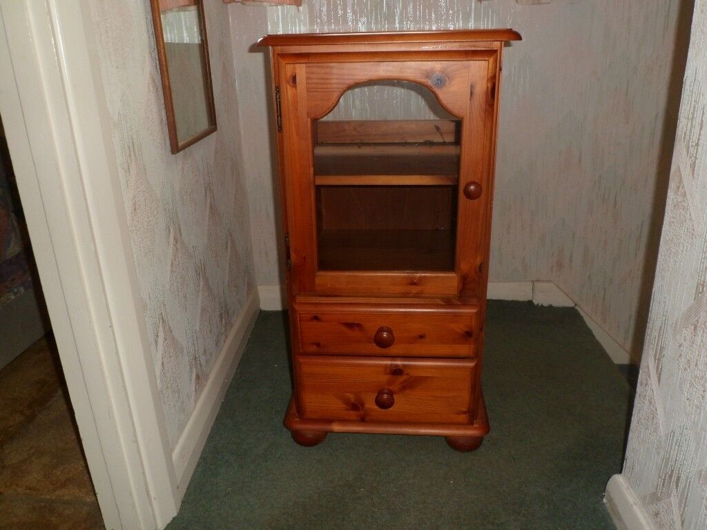 Small Free Standing Teak Glass Door Cabinet With Two Drawers Retro