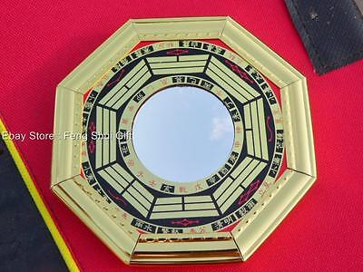 "4.8"" Chinese Oriental Protection Feng Shui Home House Gold Bagua Mirror CONCAVE"