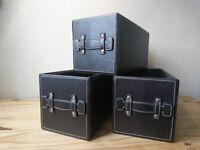 3x IKEA Brown Faux Leather Storage box