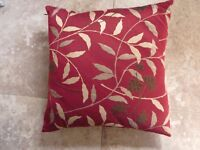 John Lewis red silk patterned cushion slip and pad