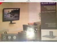 Wall mount TV Glass Shelve